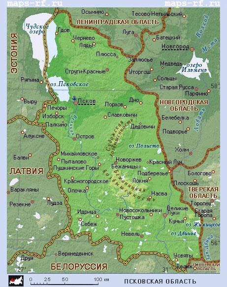 Карта псковской области по районам