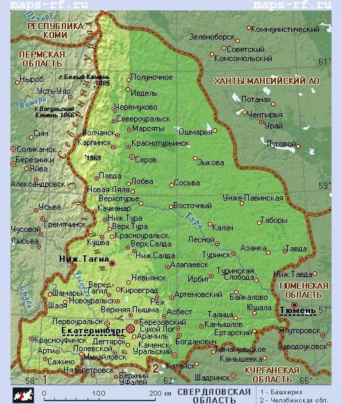 Подробная карта свердловской области
